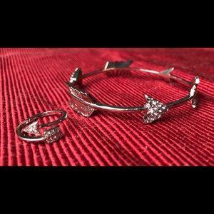 Sterling silver ring and bracelet set